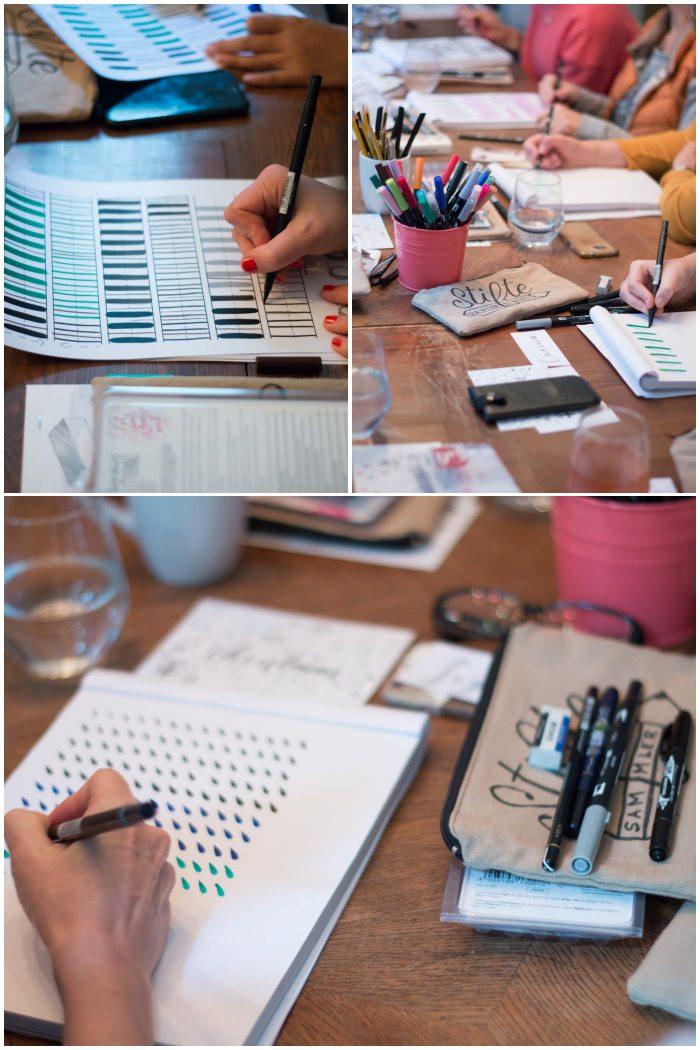 Aufwärmübungn zur korrekten Stifthaltung - Handlettering Workshop mit Anna Schneider in Wiesbaden organisiert von Increase Creativity - diephotographin