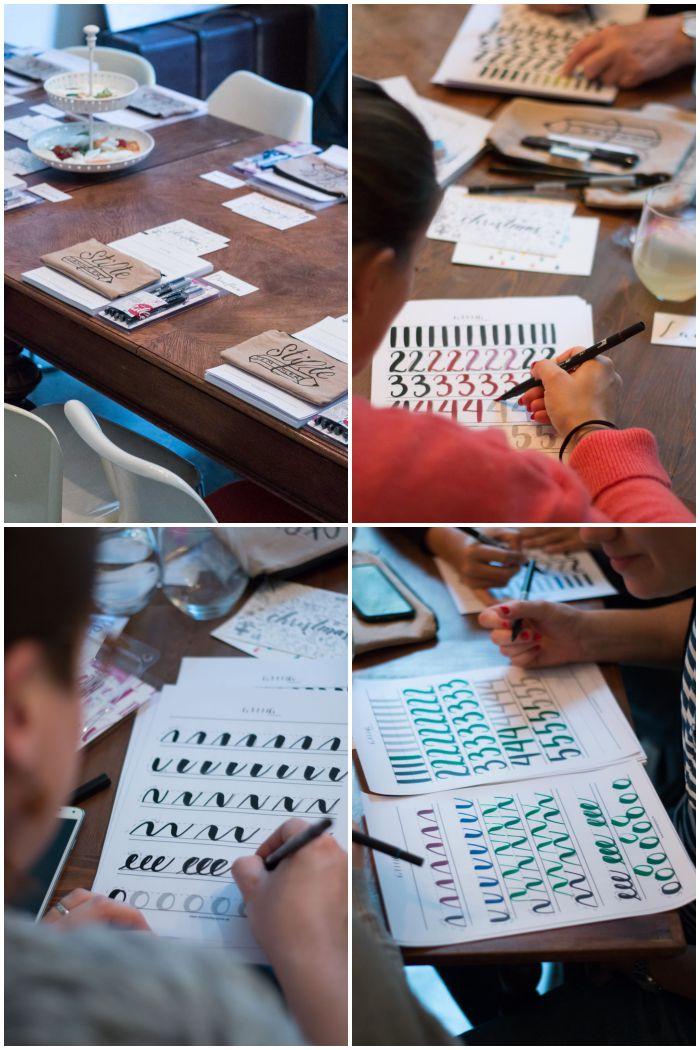 Verschieden Schwünge und alle Buchstaben und Zahlene werden geübt - Handlettering Workshop mit Anna Schneider in Wiesbaden organisiert von Increase Creativity - diephotographin