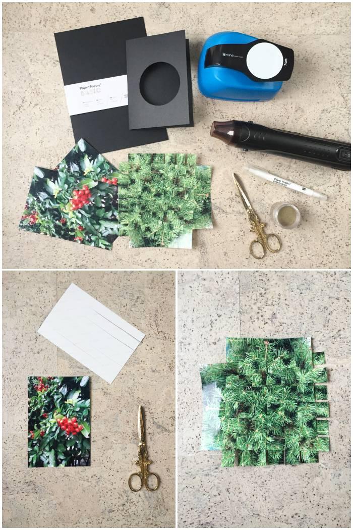 Eine Übersicht über alle Bastelzutaten und die ersten Schritte für die gewebten Foto Weihnachtskarten - diephotographin