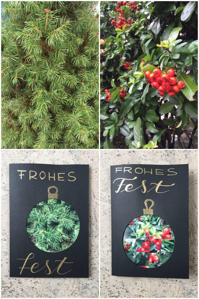 Gewebte Foto Weihnachtskarten mit Fotos von Tannengrün und Beeren - diephotographin