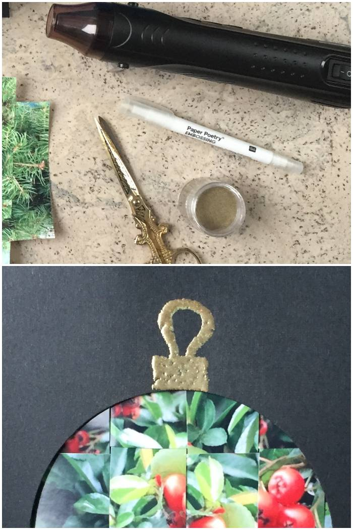 Embossing Technik für die Aufhänger der Kugeln bei den gewebten Foto Weihnachtskarten - diephotographin