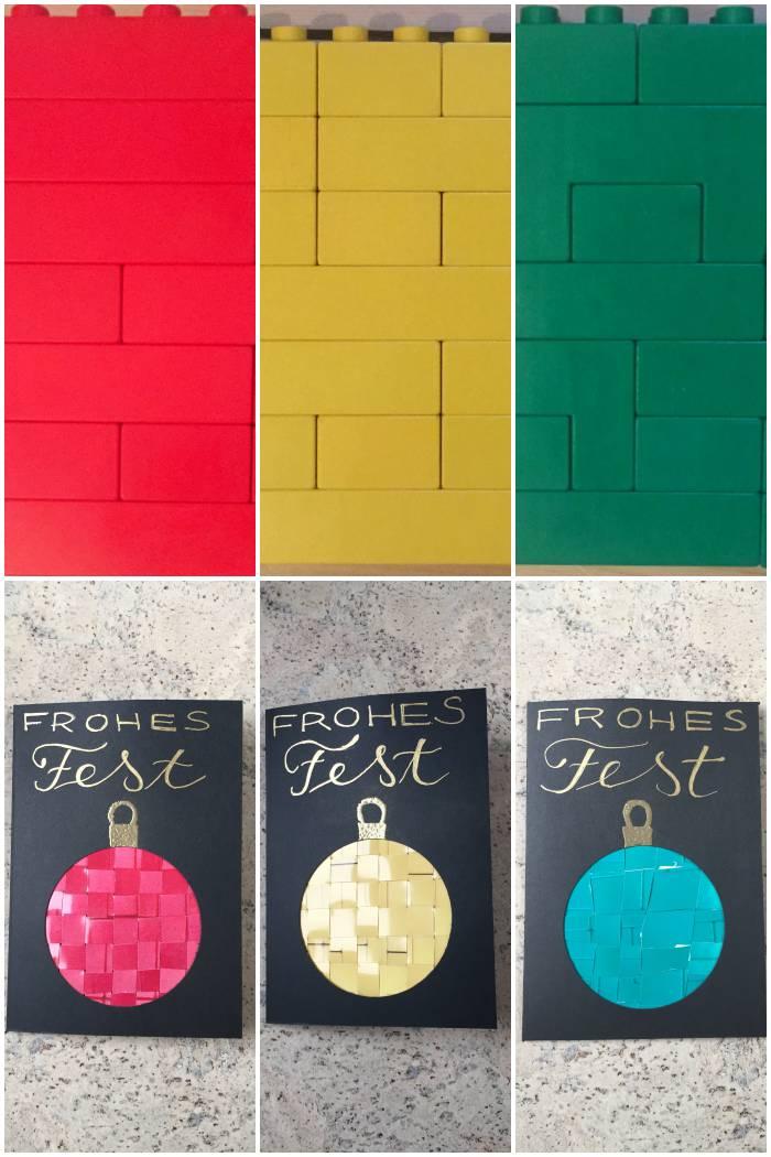 Gewebte Foto Weihnachtskarten mit Fotos von bunten Legosteinen - diephotographin