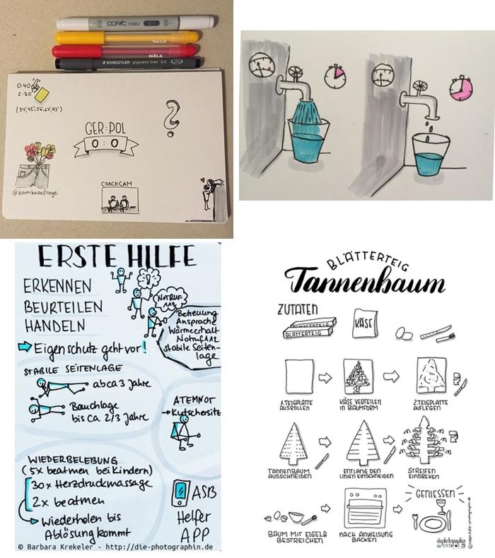Sketchnote Beispiele: parallel zum Fussbalspiel, als Erklärung der Zusammenhänge bei der manuellen Fotografie, als Erinnerung an die Erste Hilfe Massnahmen und als Anleitung für ein Rezept - Achtsamkeit mit Stift und Papier - Sketchnote Day 2018 - diephotographin