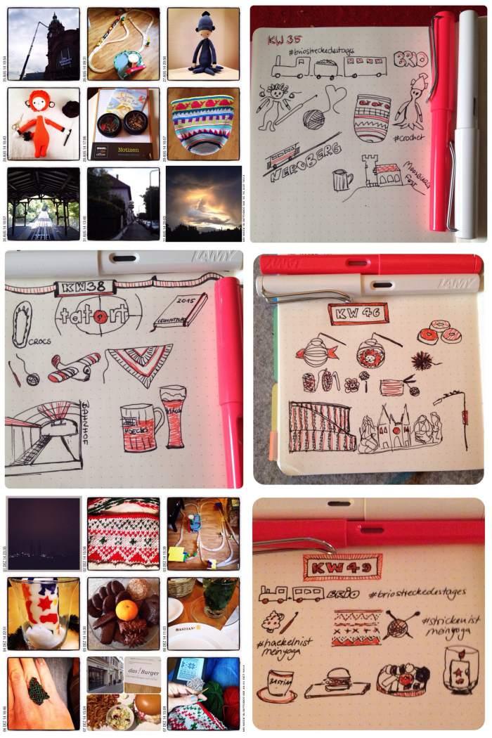 Sketchnote Beispiele: Wochenrückblicke 2014 - Achtsamkeit mit Stift und Papier - Sketchnote Day 2018 - diephotographin