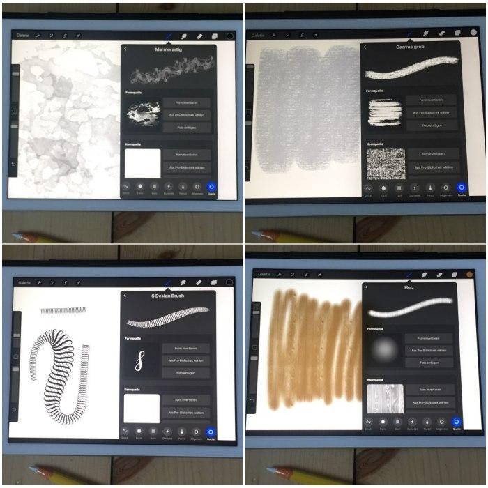Eigene Procreate Brushes mit Formen aus der Procreate Bibliothek. Das S ist eine eigene Form, die ich am iPad erstellt habe - iPad Lettering mit Procreate - diephotographin