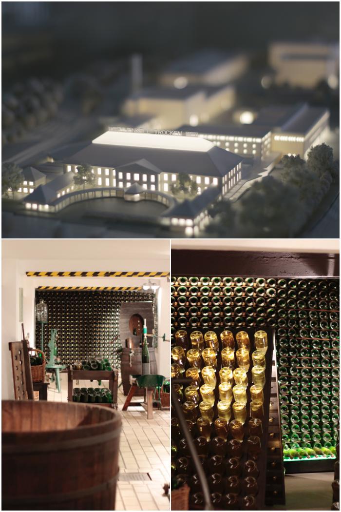 Ein Modell der kompletten Anlage, der Hauptsitz und die Fabriken dahinter und ein Einblick in die Flaschengährung - Henkell Sektkellerei - diephotographin
