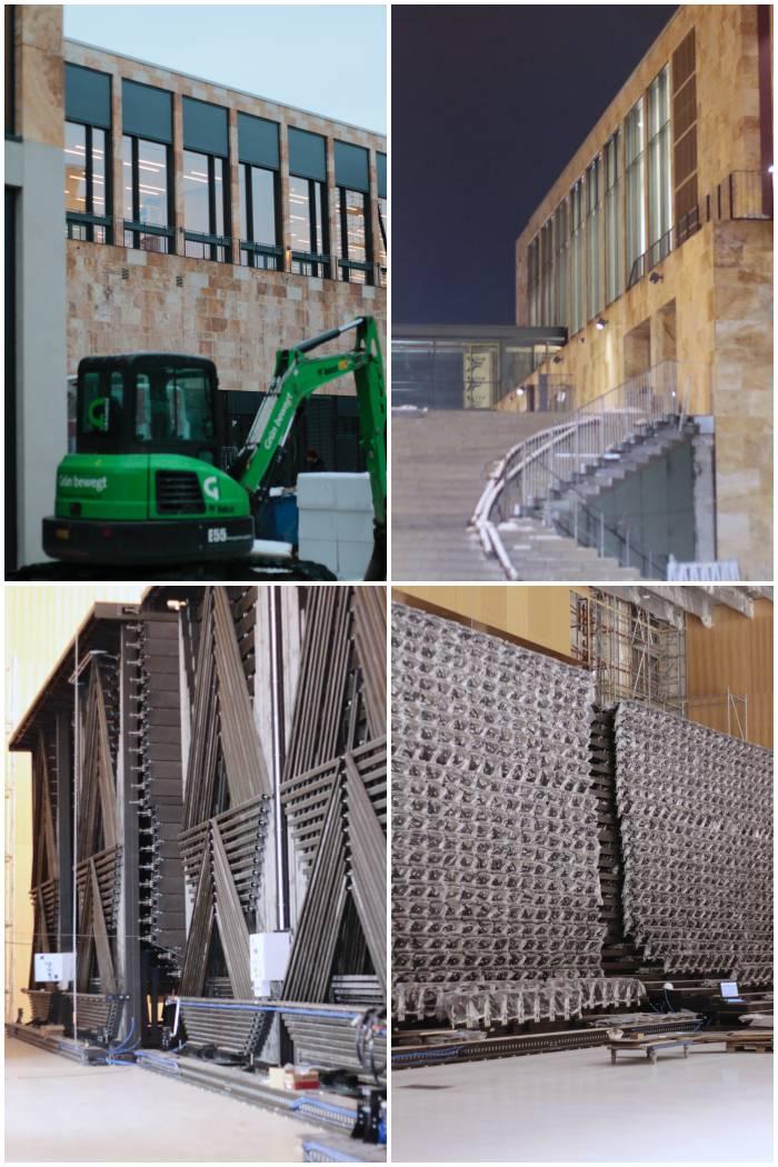 Die Rückseite, der öffentliche Durchgang und die ausfahrbaren Stuhlreihen in Halle 1 - Führung durch das RheinMain CongressCenter - diephotographin