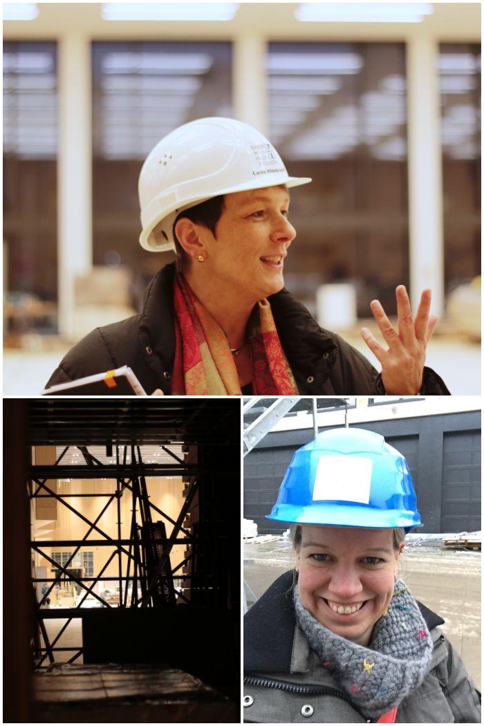 Carola Hildebrandt vom RMCC Team, die uns geführt hat und auf einer Baustelle geht eben nix ohne Helm - Führung durch das RheinMain CongressCenter - diephotographin