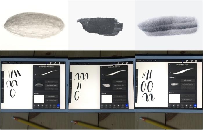 Eigene Formen mit verschiedenen Stiften auf Papier erstellt und danach in Procreate für einen eigenen Brush genutzt - iPad Lettering mit Procreate - diephotographin