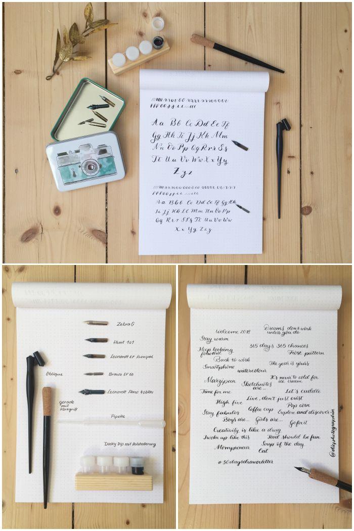 Eine Übersicht über meine Kalligrafie Materialien und ein paar Übungen mit Tusche und Feder - diephotographin