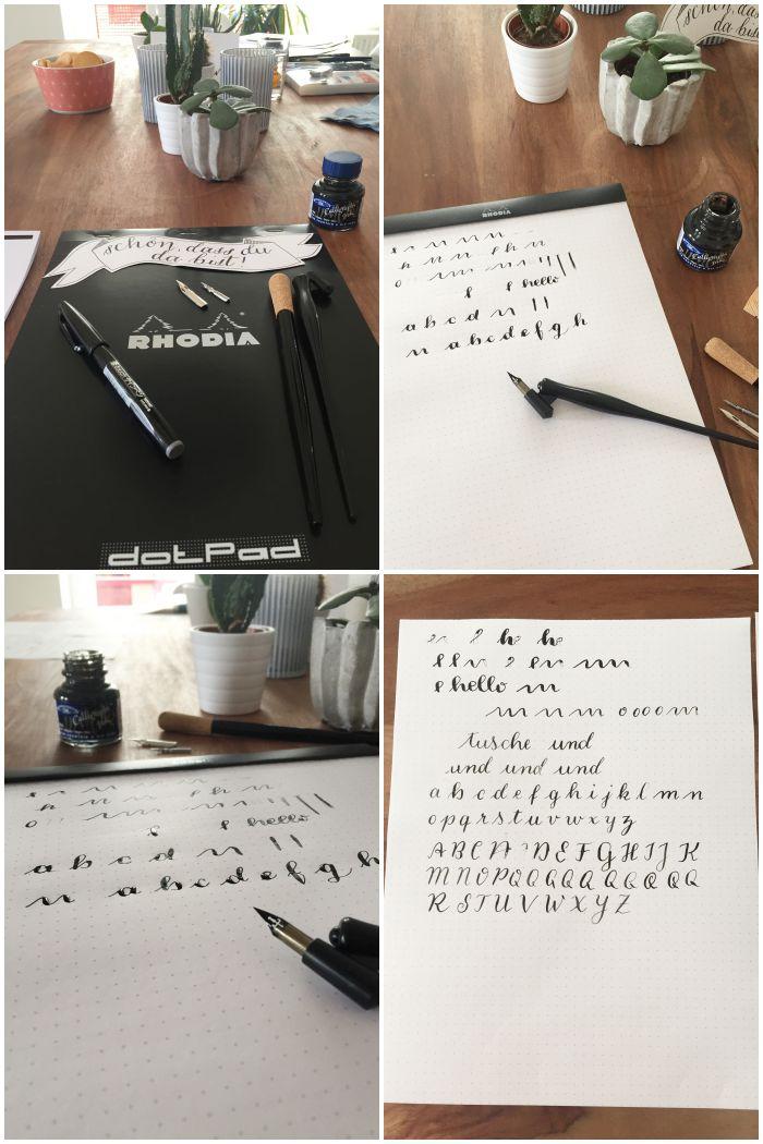 Einsteiger Set und erste Versuche beim Kalligrafie Workshop bei Anna von annkalligraphie.de in Koblenz - diephotographin