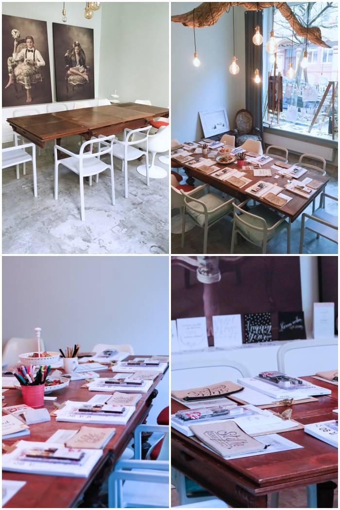 Kurz vor dem Workshop, alles aufgebaut und dekoriert - Handlettering Workshop mit Anna Schneider in Wiesbaden organisiert von Increase Creativity - diephotographin