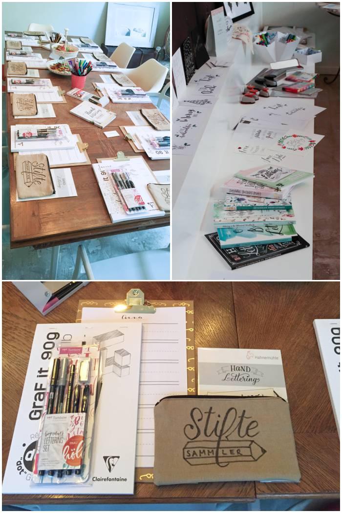 Kurz vor dem Workshop, jede Menge Inspirationsmaterial und das Einsteiger-Set - Handlettering Workshop mit Anna Schneider in Wiesbaden organisiert von Increase Creativity - diephotographin