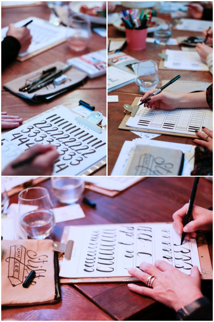 Nach den Grundformen folgen Zahlen und Buchstaben - Handlettering Workshop mit Anna Schneider in Wiesbaden organisiert von Increase Creativity - diephotographin
