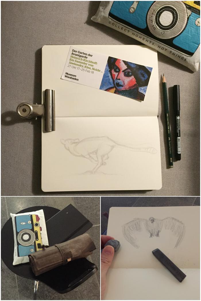 Meine Stifte und mein Skizzenbuch und ein Schwan als schnelle Grafit-Skizze - Zeichenkurs Museum Wiesbaden - diephotographin