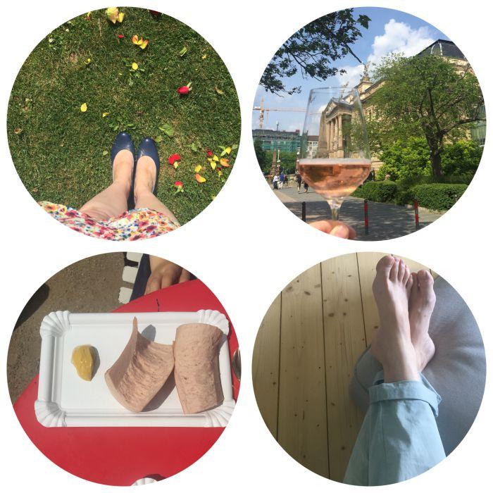 Roseblüten auf der Wiese, rosa Secco in der Hand, mittags noch heiße Fleischwurst und dann erstmal Füße hochlegen - 12 von 12 Mai 2018 - diephotographin