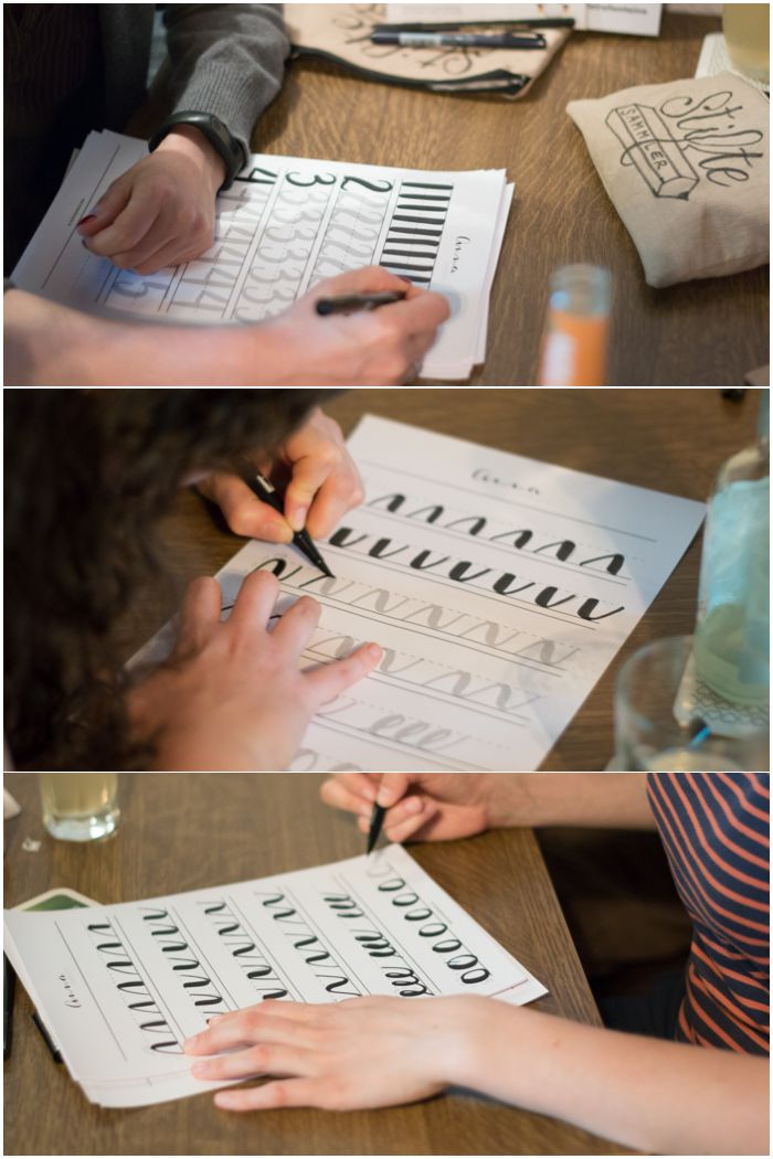 Schwünge, Buchstaben und Zahlen werden geübt - Dritter Handlettering Workshop mit Anna Schneider im fair.liebt. in Wiesbaden organisiert von mir (Increase Creativity) - diephotographin