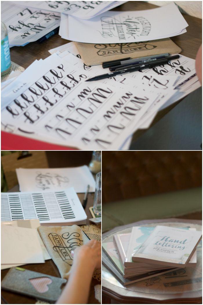 Weitere Übungen und die ganzen Lettering Bücher - Dritter Handlettering Workshop mit Anna Schneider im fair.liebt. in Wiesbaden organisiert von mir (Increase Creativity) - diephotographin