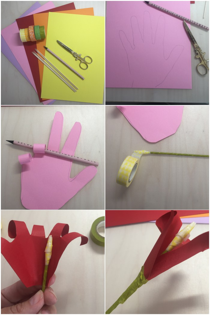 Step by Step Anleitung um eine Papierblume aus einer Kinderhand zu machen - diephotographin