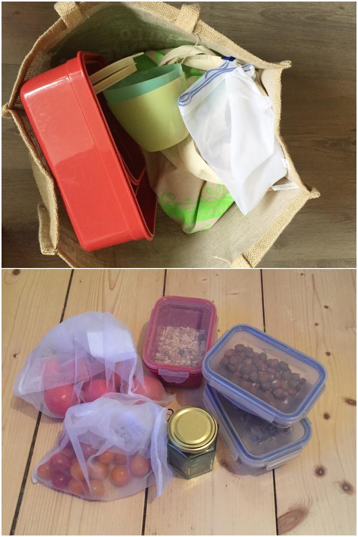 Einkaufstasche mit allen leeren Behältnissen vor dem Einkauf und nach dem Einkauf - Plastikfrei einkaufen - diephotographin