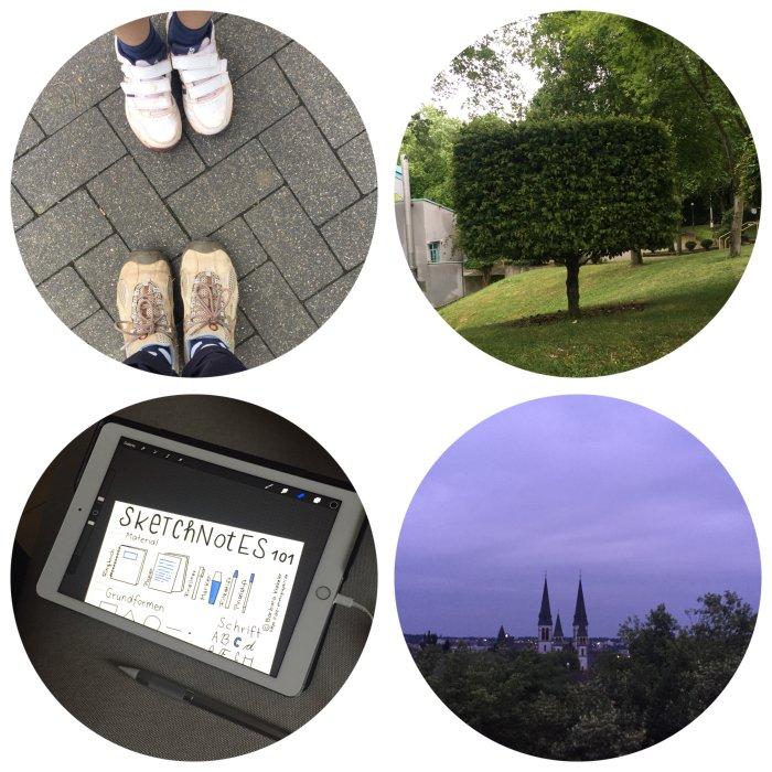"""Unterwegs zum Sportprogramm von Junior, """"Klotzbäume"""", schnell noch das Sketchnote Handout fertig machen und den lila Himmel bewundern - 12 von 12 Juni 2018 - diephotographin"""