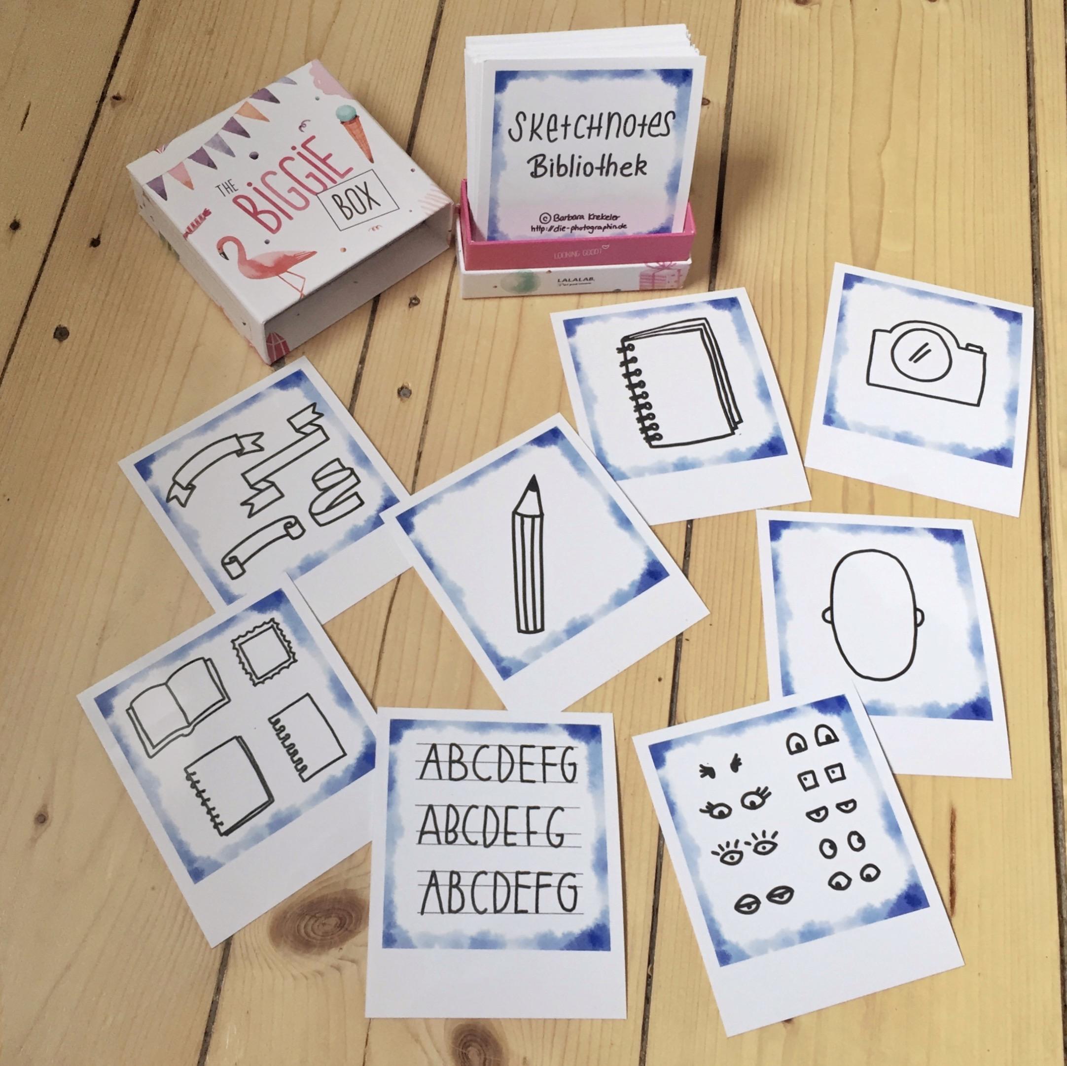 Meine Sketchnote Bibliothek auf Fotos im Polaroid-Stil - diephotographin