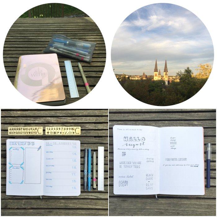 Kreativ-Zeit mit meinem Bullet Journal und die von der Sonne angestrahlte Kirche aus meinem Fenster - 12 von 12 August 2018 - diephotographin
