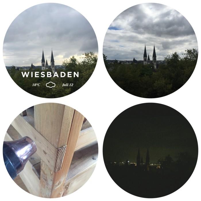 Blick aus dem Fenster auf die Dreifaltigkeitskirche in Wiesbaden zu unterschiedlichen Tageszeiten und der Kampf gegen den Holzwurm - diephotographin
