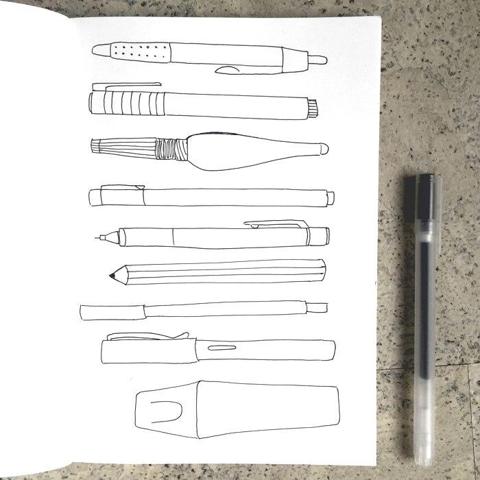 Zeichnung im Sketchnote Stil einiger Stifte mit schwarzem Gelstift - diephotographin
