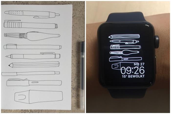 Die Sketchnote im Skizzenbuch (links) und das fertige Hintergrundbild der Apple Watch, erstellt mit Procreate auf dem iPad Pro und dem Apple Pencil (rechts) - Sketchnote als BG für die Apple Watch - diephotographin