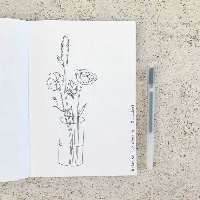 Blumenstrauß - Botanical line drawing - Increase Creativity