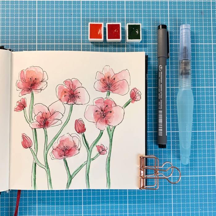 rote Blumen - Botanical line drawing - Increase Creativity