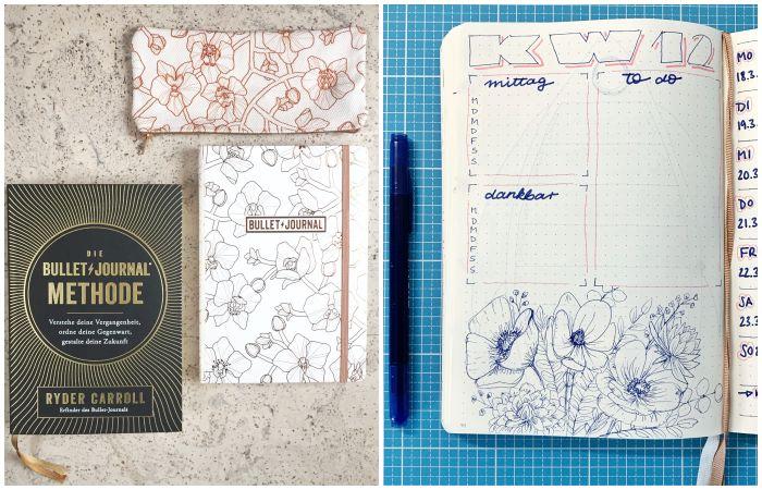 """Das Buch """"Die Bullet Journal Methnode"""" von Ryder Carroll und mein aktuelles (2019) Bullet Journal mit einem Einblick in eine Wochenübersicht mit Blumen-Deko als Botanical line drawing - Bullet Journal 101 - Increase Creativity"""
