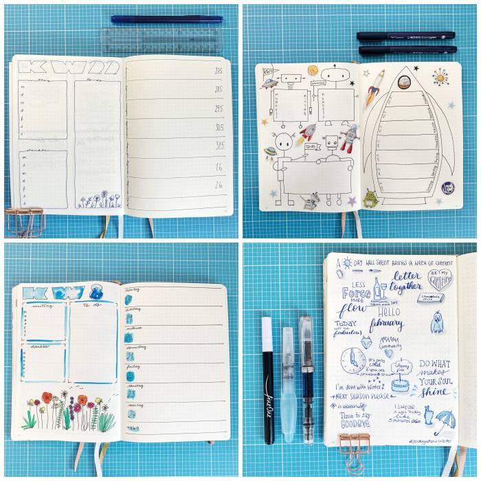 Drei dekorierte Wochenübersichten und eine Kreativ-Seite in meinem Bullet Journal - Bullet Journal 101 - Increase Creativity