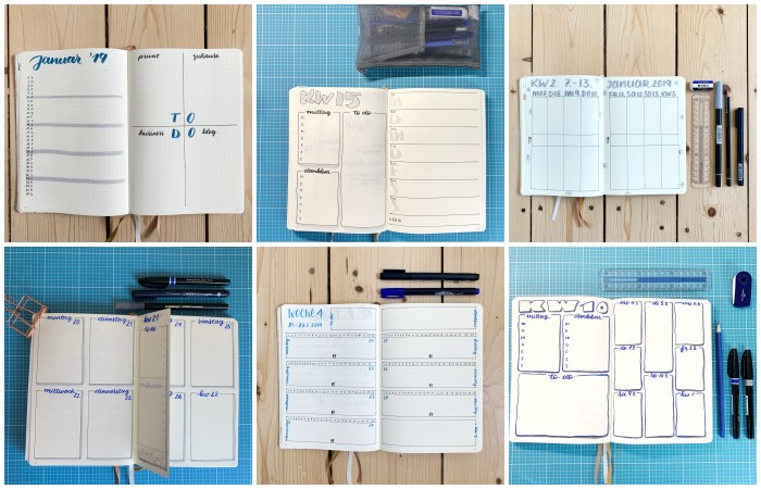 Eine Monats- und fünf Wochenübersichten in meinem Bullet Journal, mit 8 Feldern und mit Dutch Door - Bullet Journal 101 - Increase Creativity