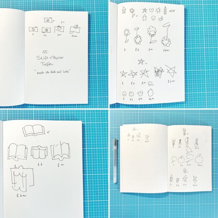 Ein paar Beispiele zur Zeichen-Aufgabe - mit links, links kopfüber, links Augen zu, links kopfüber Augen zu - 15. Stift + Papier Treffen - Increase Creativity