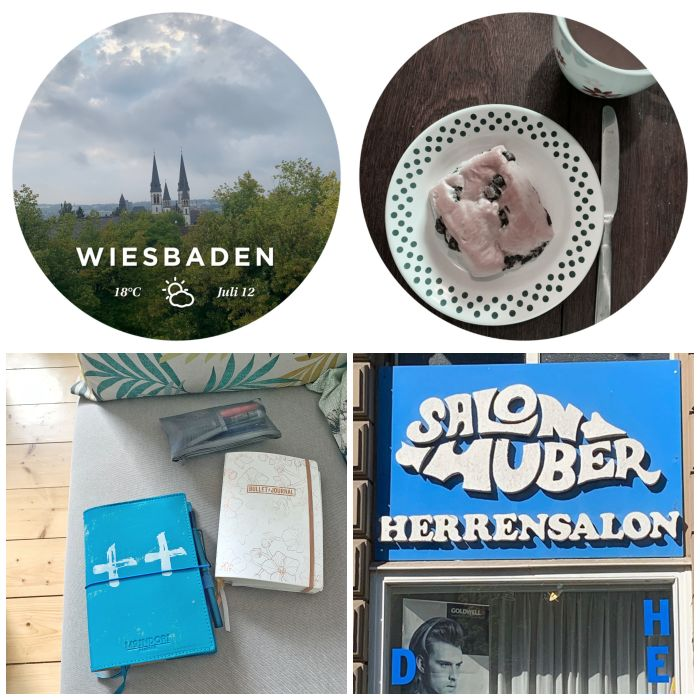 Blick auf die Dreifaltigkeitskirche, Schoko-Brötchen zum Frühstück, Blog-Pläne und ein Bild vom Sign/Typographie Walk - 12 von 12 Juli 2019 - Increase Creativity