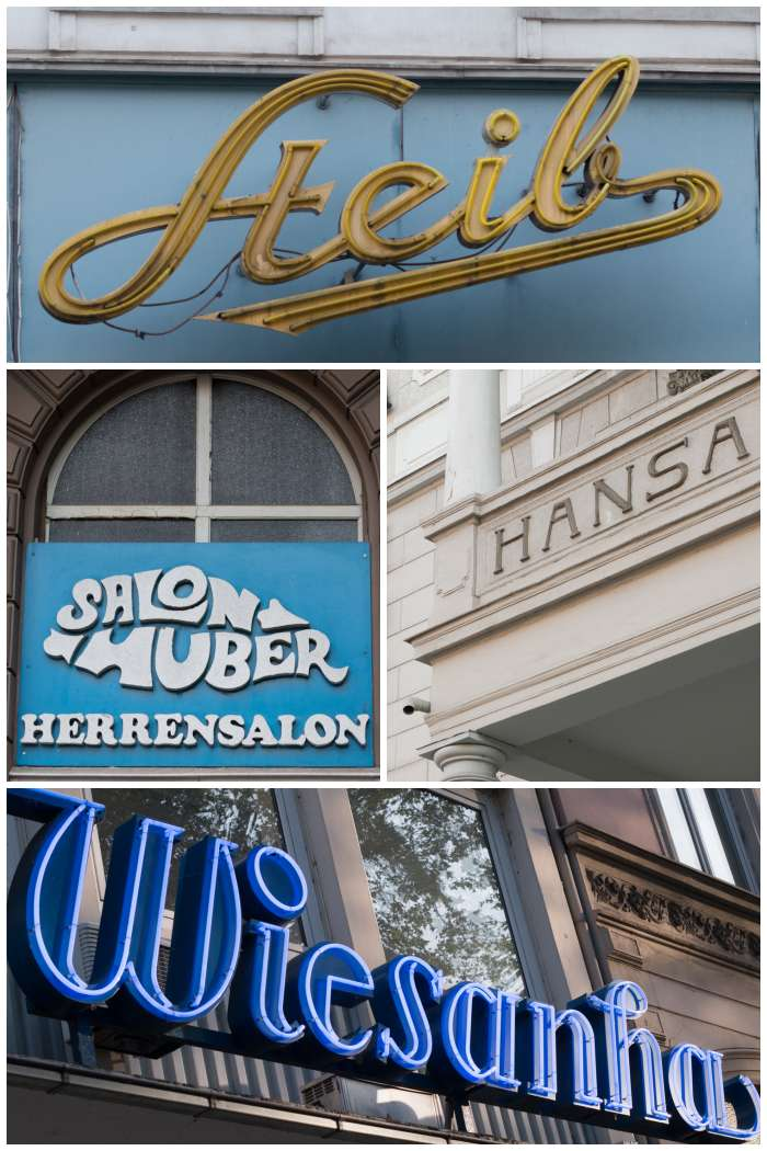 Alte Firmen-Schilder u.a. aus der Karl -, Moritz - und Rheinstrasse in Wiesbaden - fotografiert beim Sign/Typographie Walk - Increase Creativity