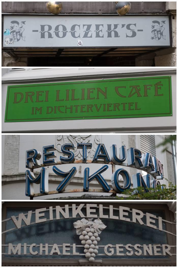 Gastronomie Schilder u.a. aus der Kleist- und Rheinstrasse in Wiesbaden - fotografiert beim Sign/Typographie Walk - Increase Creativity