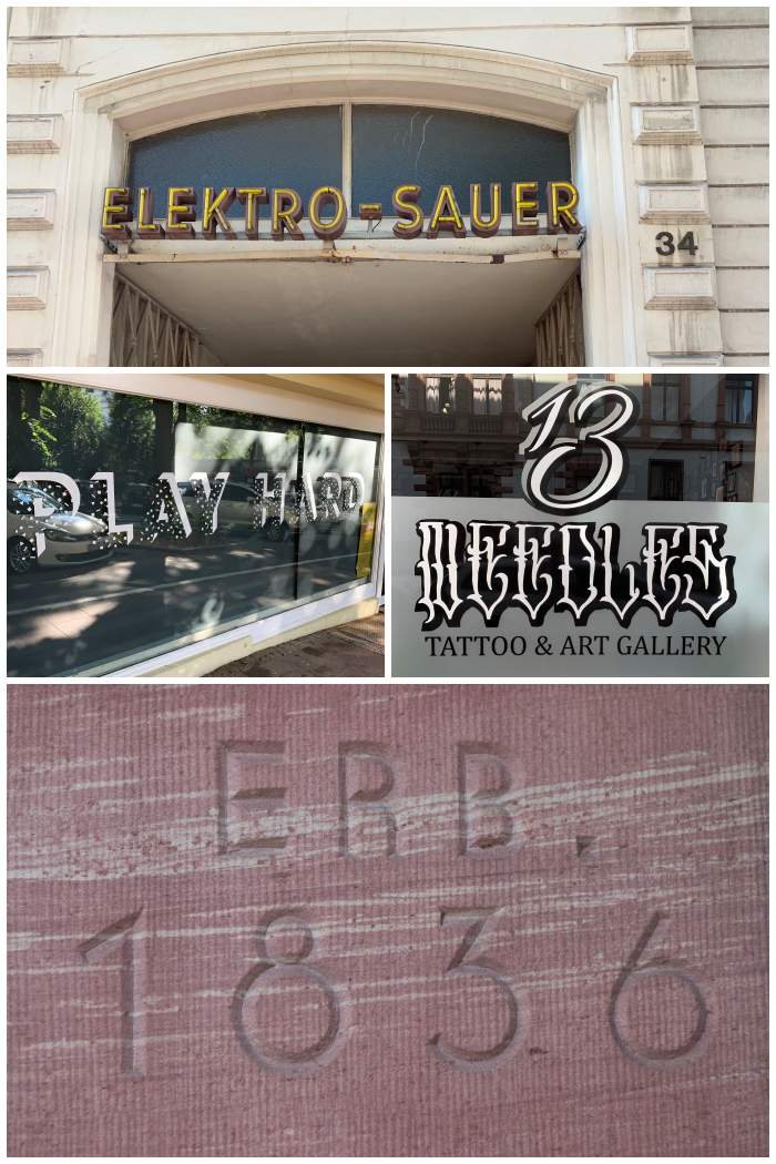 Neu und alte Firmen-Schilder u.a. aus der Karl - ,Luxemburg - und Rheinstrasse in Wiesbaden - fotografiert beim Sign/Typographie Walk - Increase Creativity