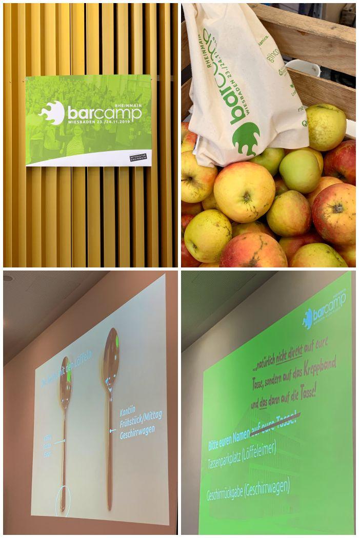 Das 11. BarCamp RheinMain mit Obst- und Gemüsebeuteln als Goodie, einem Löffel- und einem Tassen-Gate - BarCamp RheinMain - Increase Creativity