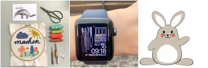Malen mit Wolle: erste Versuche im Punchneedle Workshop - eigener Hintergrund meiner Apple Watch - neues GIF für die Verwendung in der Instagram Story ++ Inspiration von mir Increase Creativity