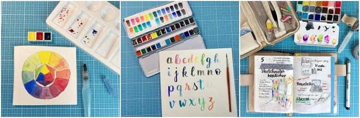"""Farbkreis mit drei Farben - Lettering mit Pinsel und Aquarellfarben - """"Draw your day"""" Versuche mit Aquarellfarben ++ Inspiration von mir Increase Creativity"""