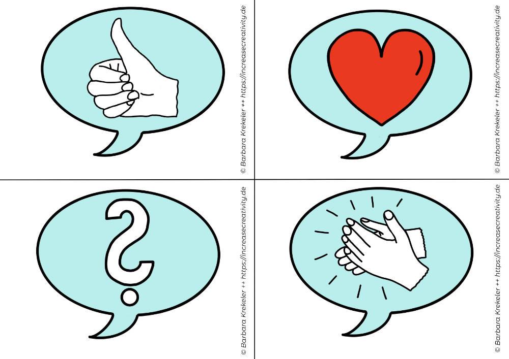 Feedback-Karten für Online Meetings oder Konferenzen - Motive: Daumen hoch, Herz, Fragezeichen, Applaus