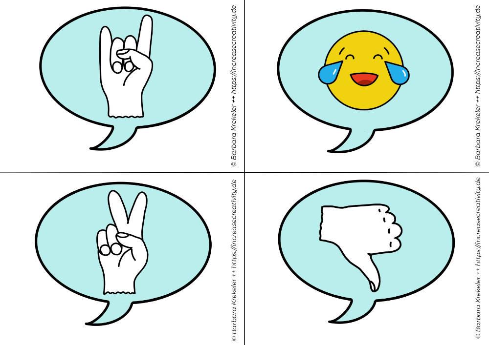 Feedback-Karten für Online Meetings oder Konferenzen - Motive: Rock 'n Roll, lachender Smilie, Victory Zeichen, Daumen runter